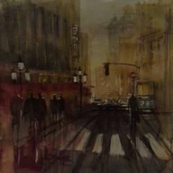 street unknown, 8 x 7 inch, nitin ghule,cityscape paintings,paintings for office,thick paper,watercolor,8x7inch,GAL026356807