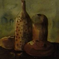 pots, 6 x 8 inch, nitin ghule,still life paintings,paintings for dining room,thick paper,watercolor,6x8inch,GAL026356808