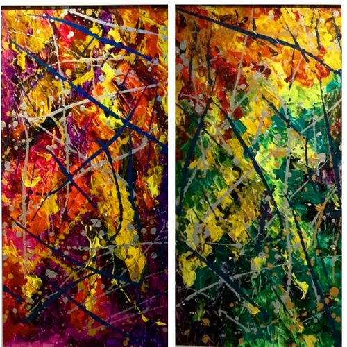 untitled, 42 x 19 inch, gaurav chauhan,paintings,abstract paintings,paintings for living room,canvas,acrylic color,42x19inch,GAL026406812