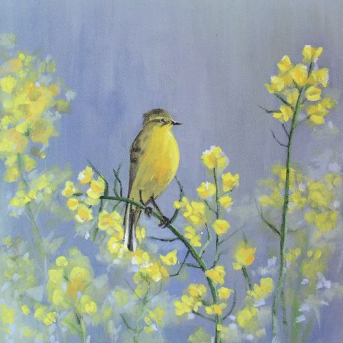 a yellow bird, 12 x 14 inch, mitisha vakil,wildlife paintings,paintings for bedroom,canvas,acrylic color,12x14inch,GAL026416813