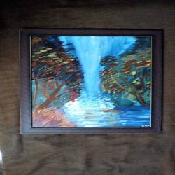 water fall, 12 x 16 inch, sreevalli rohit,paintings,abstract paintings,paintings for living room,canvas board,acrylic color,12x16inch,GAL026436816