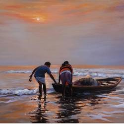 the fishermen, 24 x 16 inch, krishnapada paul,landscape paintings,paintings for living room,water fountain paintings,canvas,acrylic color,24x16inch,GAL026456820