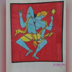 rama the warrior, 20 x 30 inch, artist balraj silvester,modern drawings,paintings for living room,thick paper,pen color,20x30inch,GAL026466825