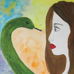 kiss by the hiss, 8 x 12 inch, jyoti varpe,paintings,surrealist paintings,paintings for living room,brustro watercolor paper,watercolor,8x12inch,GAL026306831