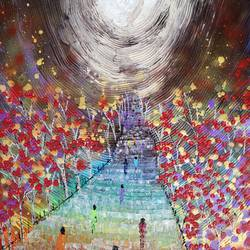 heavens gate - china , 18 x 24 inch, esther sandhya a,landscape paintings,paintings for living room,canvas,acrylic color,18x24inch,GAL016636837