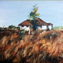 home_fort side view, 18 x 14 inch, manil k r,landscape paintings,paintings for living room,canvas,acrylic color,18x14inch,GAL026576842