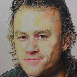 portrait of heath ledger, 12 x 17 inch, manil k r,figurative drawings,paintings for living room,brustro watercolor paper,pencil color,12x17inch,GAL026576843