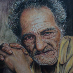 old man portrait_ copy of famous portrait photography, 12 x 17 inch, manil k r,portrait paintings,paintings for living room,canson paper,pastel color,12x17inch,GAL026576844