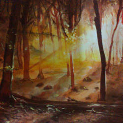 sunset, 17 x 12 inch, manil k r,landscape paintings,paintings for living room,thick paper,watercolor,17x12inch,GAL026576845