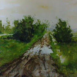 wet road, 17 x 12 inch, manil k r,landscape paintings,paintings for living room,thick paper,watercolor,17x12inch,GAL026576846