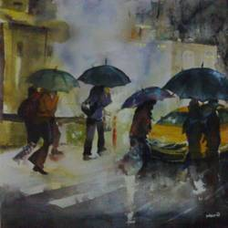 water color rain, 17 x 12 inch, manil k r,landscape paintings,paintings for living room,thick paper,watercolor,17x12inch,GAL026576847