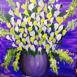 blossomy, 16 x 18 inch, sibi thomas,flower paintings,paintings for bedroom,canvas,acrylic color,16x18inch,GAL026616853