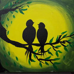 lovey dovey, 18 x 16 inch, sibi thomas,nature paintings,paintings for bedroom,canvas,acrylic color,18x16inch,GAL026616854Nature,environment,Beauty,scenery,greenery