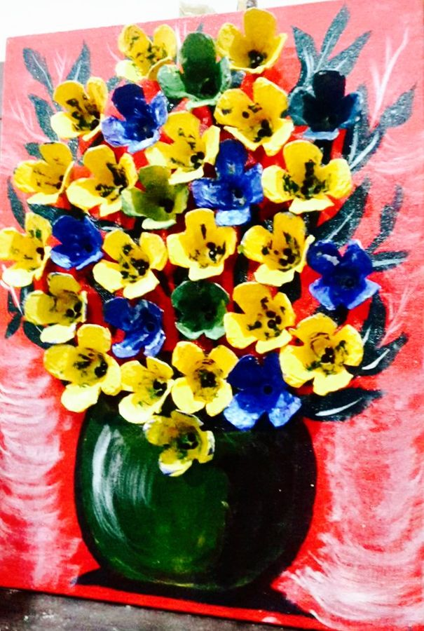 blooming vase, 12 x 16 inch, sibi thomas,flower paintings,paintings for living room,canvas,acrylic color,12x16inch,GAL026616855