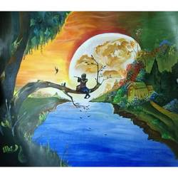 beautiful sun set.., 28 x 22 inch, vikas pareek,nature paintings,paintings for living room,ivory sheet,watercolor,28x22inch,GAL026656871Nature,environment,Beauty,scenery,greenery,beautiful,sun,trees,water,mountain,sunset,leaves,man,flute,people,birds