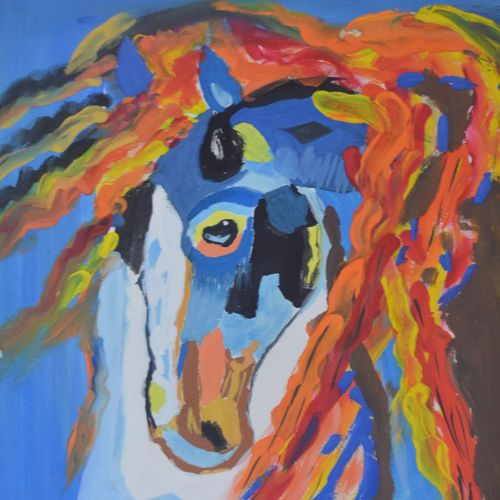 the whimsical horse, 12 x 18 inch, raghavan rajaram,abstract expressionist paintings,paintings for living room,horse paintings,thick paper,watercolor,12x18inch,GAL022466873