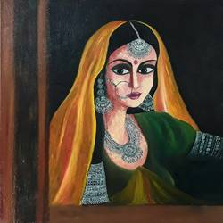 queen, 34 x 24 inch, shilpi singh patel,love paintings,paintings for bedroom,canvas,oil,34x24inch,GAL04556875