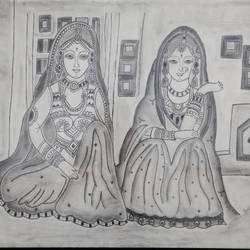 two folk women, 31 x 23 inch, radhika  mohan,folk art paintings,paintings for living room,thick paper,charcoal,31x23inch,GAL026826877