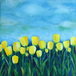 tulips, 12 x 12 inch, mitisha vakil,flower paintings,paintings for bedroom,canvas,acrylic color,12x12inch,GAL026416880