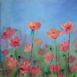 poppies, 18 x 14 inch, mitisha vakil,flower paintings,paintings for bedroom,canvas,acrylic color,18x14inch,GAL026416882