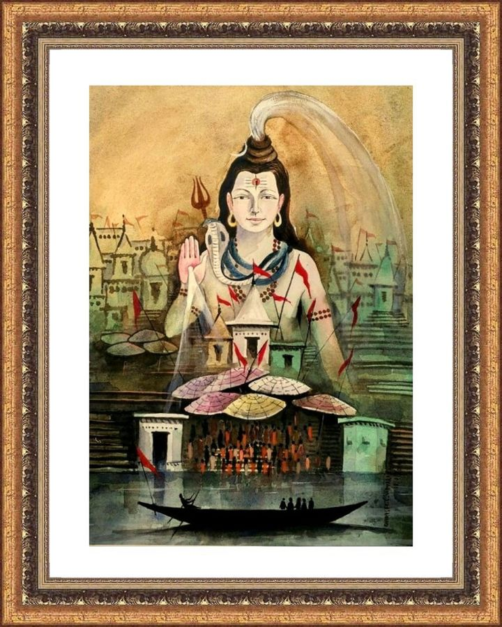 shiva and kashi, 14 x 11 inch, girish chandra vidyaratna,paintings for living room,religious paintings,lord shiva paintings,paper,watercolor,14x11inch,GAL03669