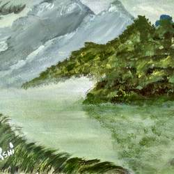 mountains, 12 x 8 inch, rashi bhalla,landscape paintings,paintings for dining room,paintings,canson paper,acrylic color,12x8inch,GAL023236900