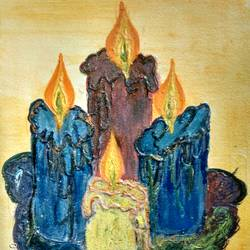 melting candles, 12 x 8 inch, rashi bhalla,modern art paintings,paintings for dining room,paintings,canson paper,acrylic color,12x8inch,GAL023236901