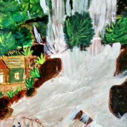 forest waterfall, 12 x 8 inch, rashi bhalla,nature paintings,paintings for bedroom,canson paper,acrylic color,12x8inch,GAL023236903Nature,environment,Beauty,scenery,greenery
