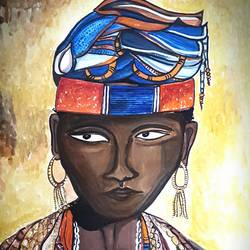 african tribal, 15 x 22 inch, subhasree kundu,figurative paintings,paintings for living room,thick paper,watercolor,15x22inch,GAL021656905