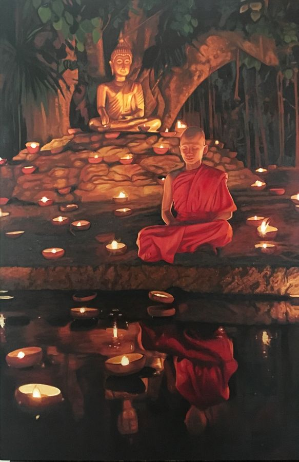 illuminated bliss, 24 x 36 inch, tavishi kanoria,buddha paintings,paintings for living room,vertical,canvas,oil,24x36inch,religious,peace,meditation,meditating,gautam,goutam,buddha,monk,temple,lights,tree,praying,giving blessing,GAL013966906