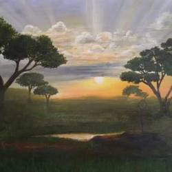 sunrise , 59 x 50 inch, shubhangi  bolishetty,landscape paintings,paintings for living room,canvas,mixed media,59x50inch,GAL026956914