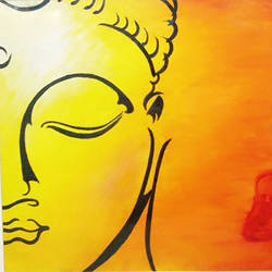 lord buddha, 18 x 14 inch, dr tanvi chhabra,buddha paintings,paintings for living room,canvas,oil,18x14inch,religious,peace,meditation,meditating,gautam,goutam,buddha,orange,side face,GAL010656920