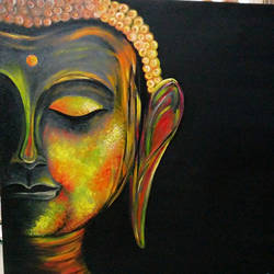 lord buddha, 24 x 24 inch, dr tanvi chhabra,buddha paintings,paintings for living room,canvas,oil,24x24inch,religious,peace,meditation,meditating,gautam,goutam,buddha,lord,side face,black,GAL010656922