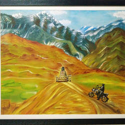 spiti valley with buddha, 24 x 20 inch, dr tanvi chhabra,landscape paintings,paintings for living room,canvas,oil,24x20inch,GAL010656923