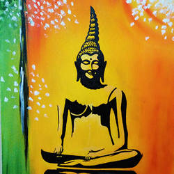 lord buddha, 14 x 18 inch, dr tanvi chhabra,buddha paintings,paintings for living room,canvas,oil,14x18inch,religious,peace,meditation,meditating,gautam,goutam,buddha,orange,black,GAL010656925