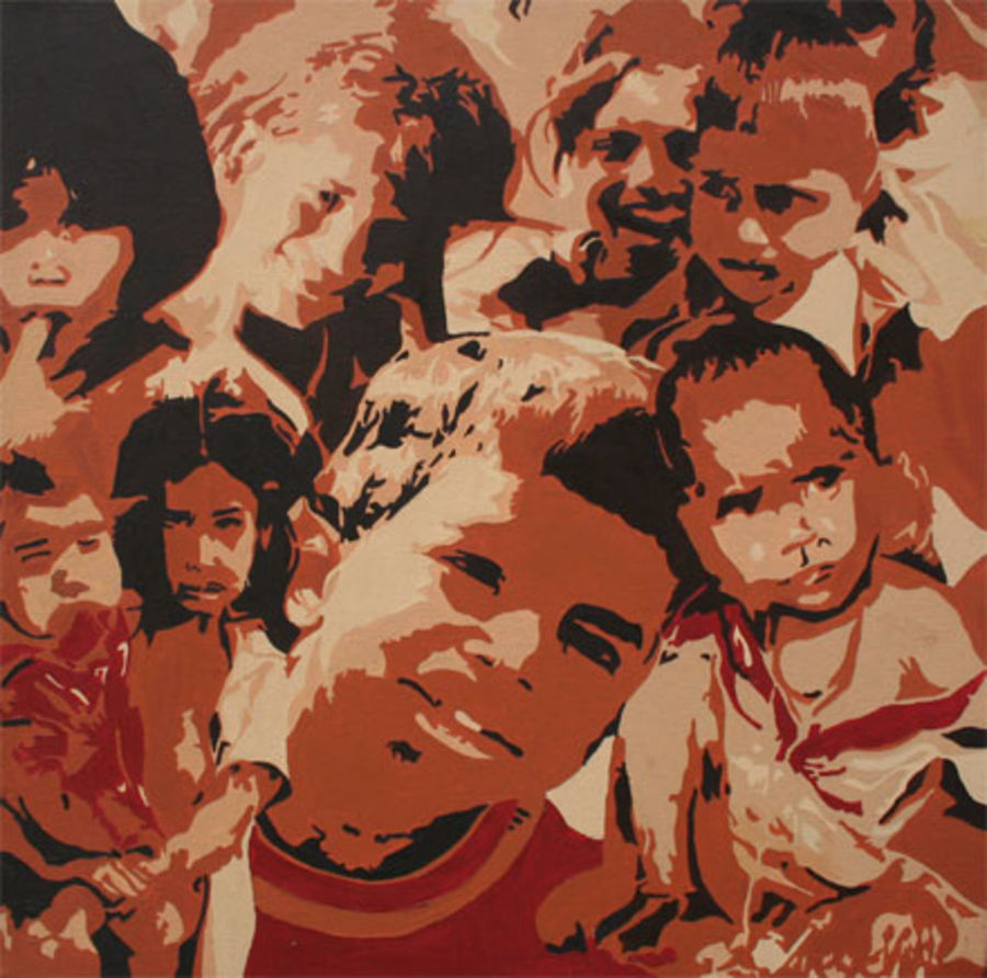 indian children, 24 x 24 inch, sanchit raj,abstract paintings,paintings for living room,kids paintings,canvas,oil,24x24inch,GAL0288693