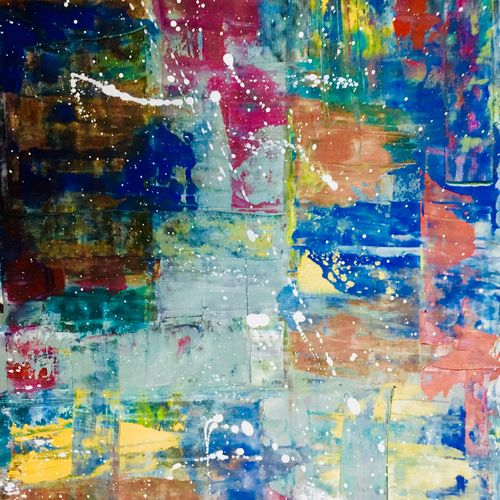 peace within reds, 13 x 9 inch, amit kulkarni,abstract paintings,paintings for office,thick paper,oil,13x9inch,GAL027216937
