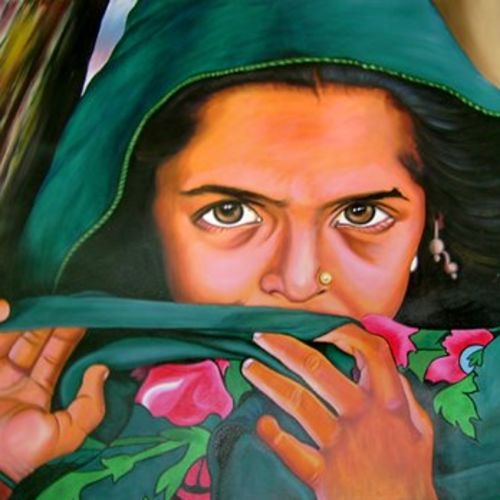 village women from india, 48 x 36 inch, sanchit raj,figurative paintings,paintings for living room,canvas,oil,48x36inch,GAL0288694