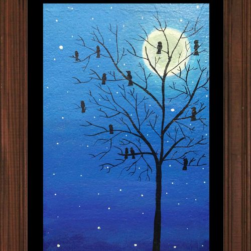 starry night kalatva002 (unframed), 12 x 14 inch, anjali jain,nature paintings,paintings for living room,thick paper,acrylic color,12x14inch,GAL027236944Nature,environment,Beauty,scenery,greenery