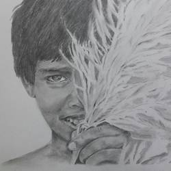 boy with kash flower, 18 x 12 inch, santanu sen,fine art drawings,paintings for living room,paper,graphite pencil,18x12inch,GAL019396954
