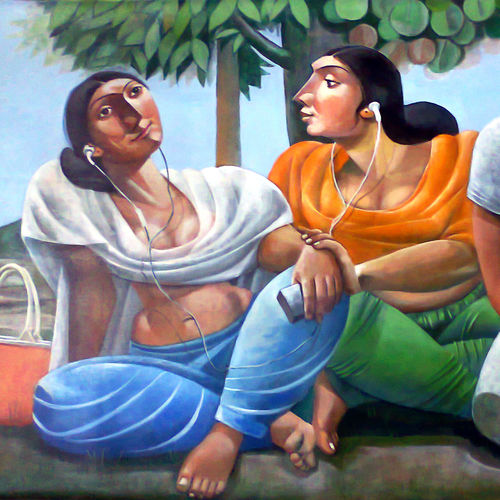 modern girls, 48 x 36 inch, albert  ashok,figurative paintings,paintings for living room,canvas,acrylic color,48x36inch,GAL027356960