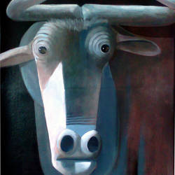 bulls head, 18 x 24 inch, albert  ashok,figurative paintings,paintings for dining room,canvas,acrylic color,18x24inch,GAL027356961