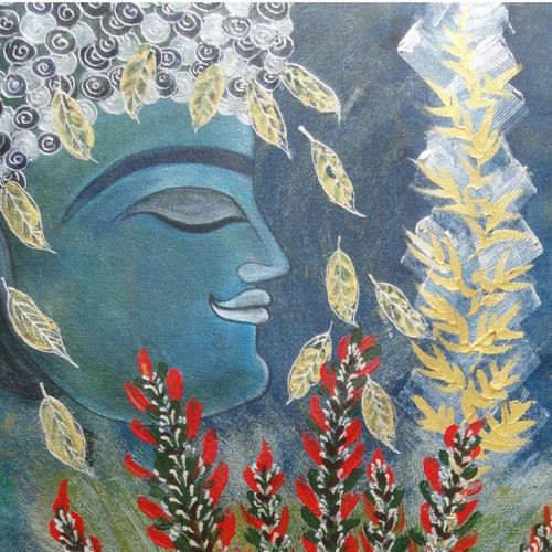 buddha, 24 x 24 inch, nandini verma,buddha paintings,paintings for office,canvas,acrylic color,24x24inch,religious,peace,meditation,meditating,gautam,goutam,buddha,leafs,flowers,side face,blue,GAL027376966