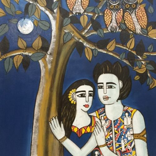 couple, 28 x 56 inch, nandini verma,figurative paintings,paintings for bedroom,canvas,acrylic color,28x56inch,GAL027376968