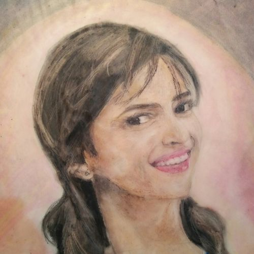 beautific., 14 x 20 inch, atul bharmoria,portrait paintings,paintings for living room,rice paper,pastel color,14x20inch,GAL0335697
