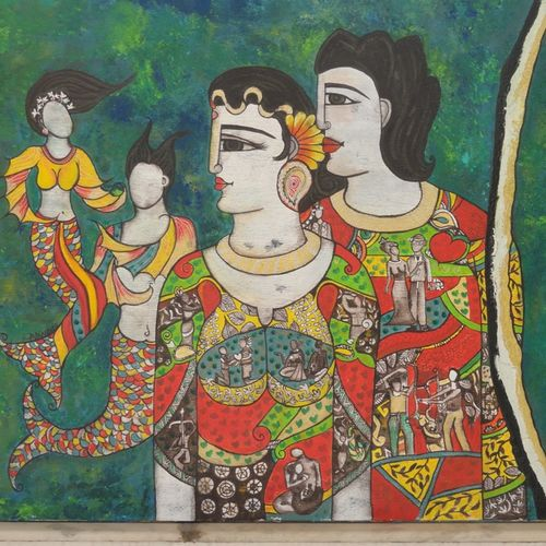 deep ocean of love , 38 x 56 inch, nandini verma,figurative paintings,paintings for living room,canvas,acrylic color,38x56inch,GAL027376970