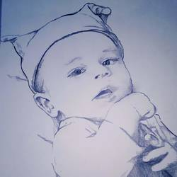 baby , 18 x 24 inch, mohammed  mohsin ,portrait drawings,paintings for living room,ivory sheet,pencil color,18x24inch,GAL027406974