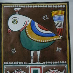 bird in jamini roy style, 11 x 9 inch, puspita chakraborty,folk art paintings,paintings for living room,cartridge paper,watercolor,11x9inch,GAL027506979