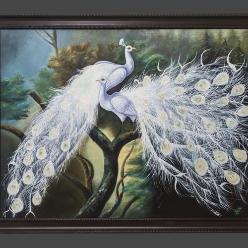 white peacock, 53 x 40 inch, darshik joshi,nature paintings,paintings for living room,paintings,wildlife paintings,paintings for dining room,paintings for bedroom,paintings for office,paintings for hotel,paintings for school,paintings for hospital,canvas,oil,53x40inch,GAL027606983Nature,environment,Beauty,scenery,greenery