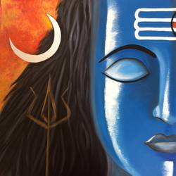 lord shiva, 24 x 24 inch, amita dand,religious paintings,paintings for office,lord shiva paintings,canvas board,oil,24x24inch,GAL014676984